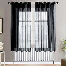 Topfinel Black Voile Curtains 72 Drop 2 Panels