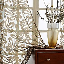 Topfinel Brown Voile Curtains 69 Drop 2 Panels