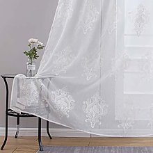 Topfinel Embroidered Voile Curtains 140cmx220cm