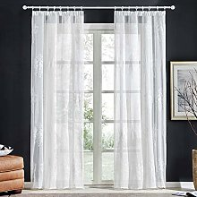 Topfinel Embroidered Voile Eyelet Net Window