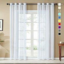 Topfinel Faux Linen Semi Voile Curtains 102 Drop 2
