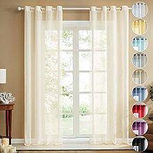 Topfinel Faux Linen Semi Voile Curtains 110 Drop 2