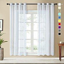 Topfinel Faux Linen Semi Voile Curtains 96 Drop 2