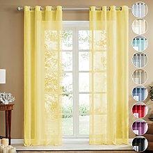 Topfinel Faux Linen Semi Voile Eyelet Curtains