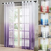 Topfinel Gradient Voile Curtain Solid Ombre Eyelet