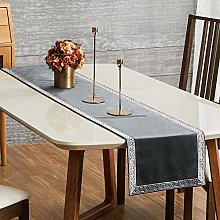 Topfinel Grey Dining Table Runner 90 Inches 7.5ft