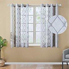 Topfinel Grey Voile Curtains 63 Drop 2 Panels