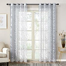 Topfinel Grey Voile Curtains 90 Drop 2 Panels