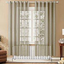 Topfinel Khaki Voile Curtains 90 Drop 2 Panels