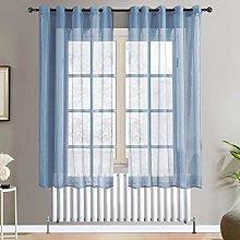 Topfinel Navy Voile Curtains 72 Drop 2 Panels
