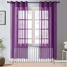 Topfinel Purple Voile Curtains 90 Drop 2 Panels