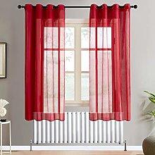 Topfinel Red Voile Curtains 72 Drop 2 Panels