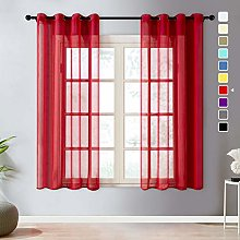 Topfinel Red Voile Curtains 90 Drop 1 Panel Eyelet