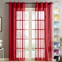 Topfinel Red Voile Curtains 90 Drop 2 Panels