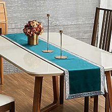 Topfinel Teal Dining Table Runner 90 Inches 7.5ft