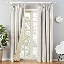 Topfinel Thick Faux Linen Blackout Curtains