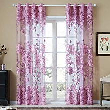 Topfinel Voile Curtains Eyelet Glass Yarn Blooming