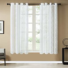 Topfinel White Voile Curtains 100 x 26 Drop 1