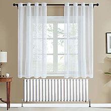 Topfinel White Voile Curtains 54 Drop 2 Panels