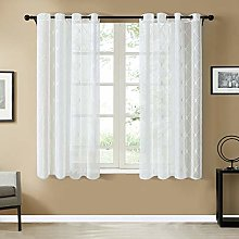 Topfinel White Voile Curtains 54 x 46 Drop 2