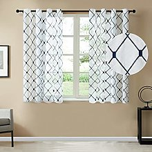 Topfinel White Voile Curtains 63 Drop 2 Panels