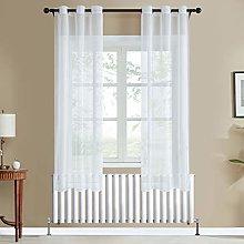 Topfinel White Voile Curtains 72 Drop 2 Panels