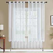 Topfinel White Voile Curtains 72 Drop 2 Panels