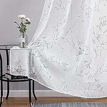 Topfinel White Voile Curtains 96 Drop 2 Panels