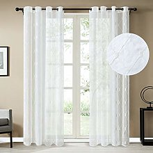 Topfinel White Voile Curtains 98 Drop 1 Panel