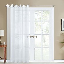 Topfinel White Voile Faux Linen Curtains 1 Panel