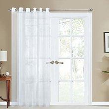 Topfinel White Voile Faux Linen Curtains 1 Panel