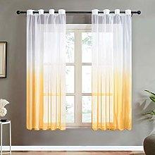 Topfinel Yellow Gradient Voile Curtain 69 Drop 2