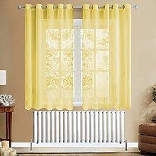 Topfinel Yellow Voile Curtains 54 Drop 2 Panels
