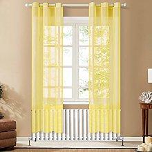 Topfinel Yellow Voile Curtains 90 Drop 2 Panels