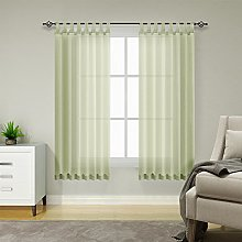 TOPICK Voile Curtain with Rod Slot Transparent