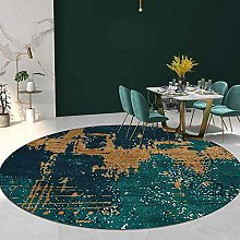 Topinged Living Room Rug Round Green Emerald