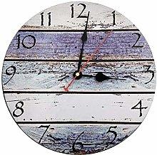 TOPPTIK Rustic Beach Wooden Round Wall Clock,