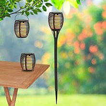 Torch LED solar light, ground spike, set of 2 3in1