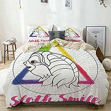 Totun Duvet Cover Set Beige,Sloth Smiling Animal