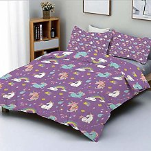 Totun Duvet Cover Set,Unicorn and Rainbows