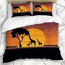 Totun Duvet Cover Sets Orange Sunset Safari