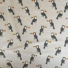 Toucan Bird Design Cotton Rich Linen Look Fabric