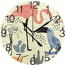 Toucan with Flamingo Round Wall Clock, Silent