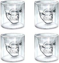 TouchLife Set of 4 150ML Crystal Skull Shotglass