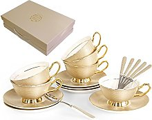 TouchLife Set of 6 Bone China Teacups/Coffee Cups