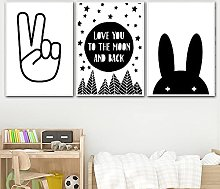 TougMoo Canvas Print With Colorful Rabbit Love