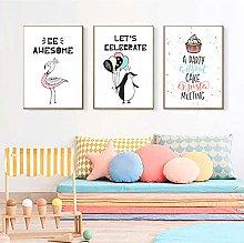 TougMoo Penguin And Flamingo Canvas Painting Print