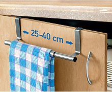 Towel Rack Tea Towel Holder Hanging on Closet Doors, Dryer 1 Stainless Steel Extendable Bar, 25-40x8x9cm, Kitchen and Bathroom Accessory without Drilling