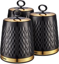 Tower 3 Piece Empire Storage Canisters - Black