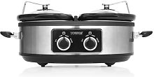 Tower Double 5L Slow Cooker Tower Colour: Silver